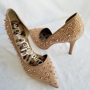 SAM EDELMAN Pixie Satin Studded Pump high heels 10